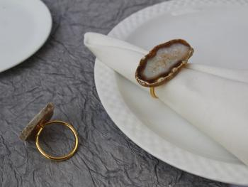 Natural Agate Brass Napkin Holder Ring (Gold Plated) - SET OF 4