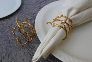 Tree Bark textured Brass Napkin Holder Ring (Gold Plated) - SET OF 4